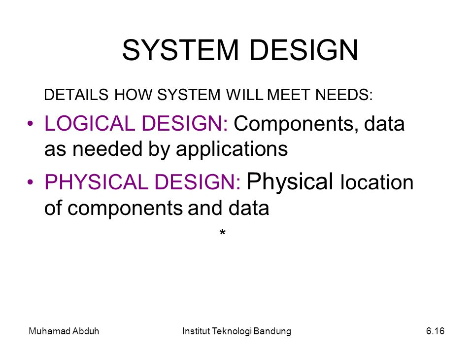 Muhamad AbduhInstitut Teknologi Bandung6.16 SYSTEM DESIGN DETAILS HOW SYSTEM WILL MEET NEEDS: LOGICAL DESIGN: Components, data as needed by applicatio