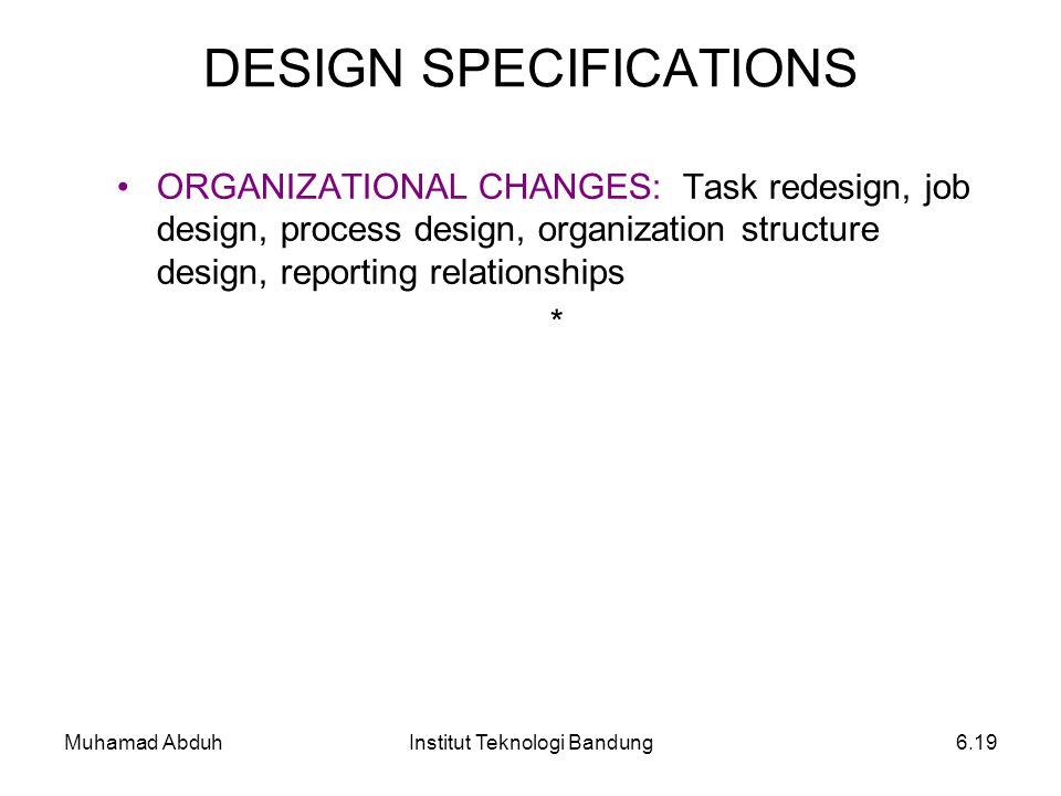 Muhamad AbduhInstitut Teknologi Bandung6.19 ORGANIZATIONAL CHANGES: Task redesign, job design, process design, organization structure design, reportin