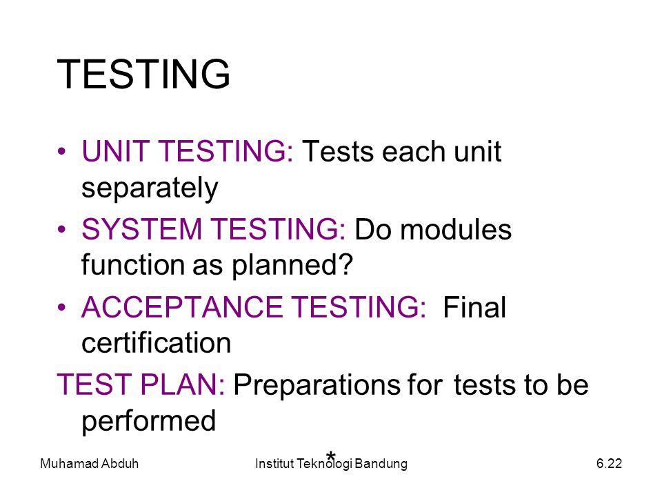 Muhamad AbduhInstitut Teknologi Bandung6.22 UNIT TESTING: Tests each unit separately SYSTEM TESTING: Do modules function as planned? ACCEPTANCE TESTIN