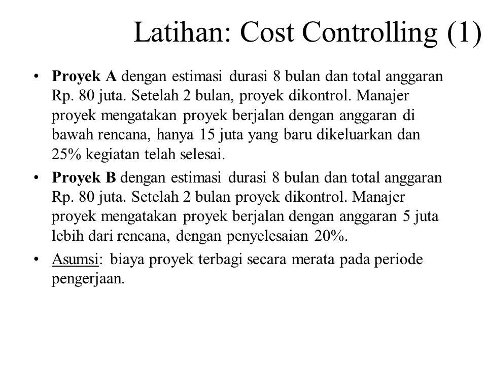 Latihan: Cost Controlling (1) Proyek A dengan estimasi durasi 8 bulan dan total anggaran Rp.