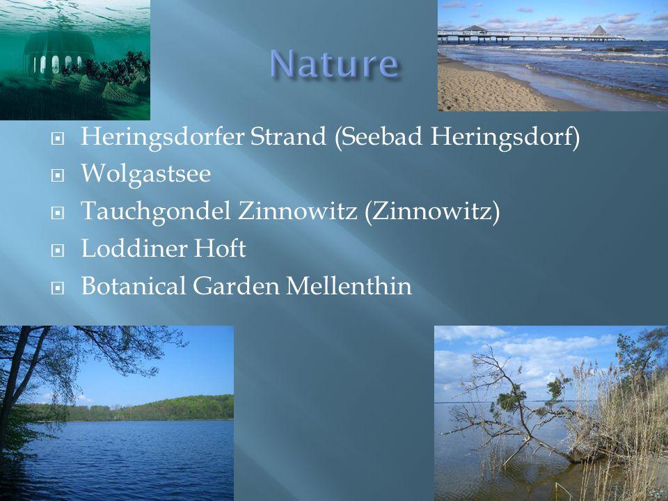  Heringsdorfer Strand (Seebad Heringsdorf)  Wolgastsee  Tauchgondel Zinnowitz (Zinnowitz)  Loddiner Hoft  Botanical Garden Mellenthin