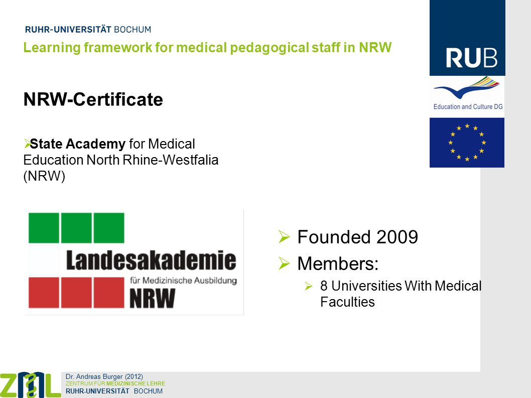 NRW-Certificate  State Academy for Medical Education North Rhine-Westfalia (NRW)  Founded 2009  Members:  8 Universities With Medical Faculties Learning framework for medical pedagogical staff in NRW Dr.