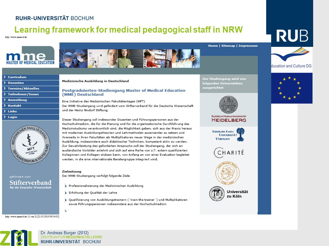 Learning framework for medical pedagogical staff in NRW Dr.