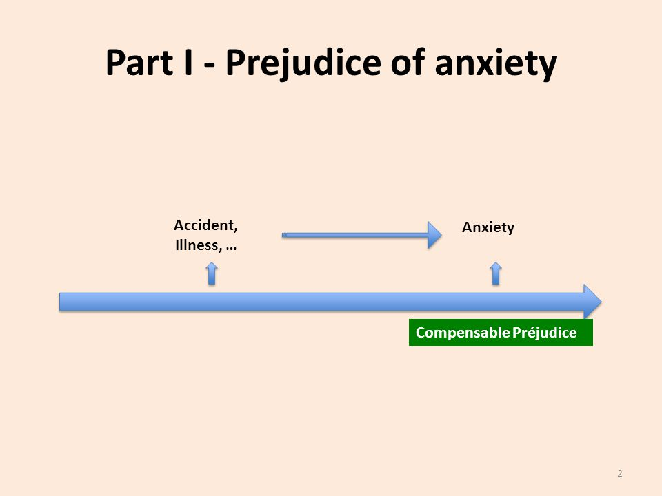 Part I - Prejudice of anxiety Accident, Illness, … Anxiety Compensable Préjudice 2