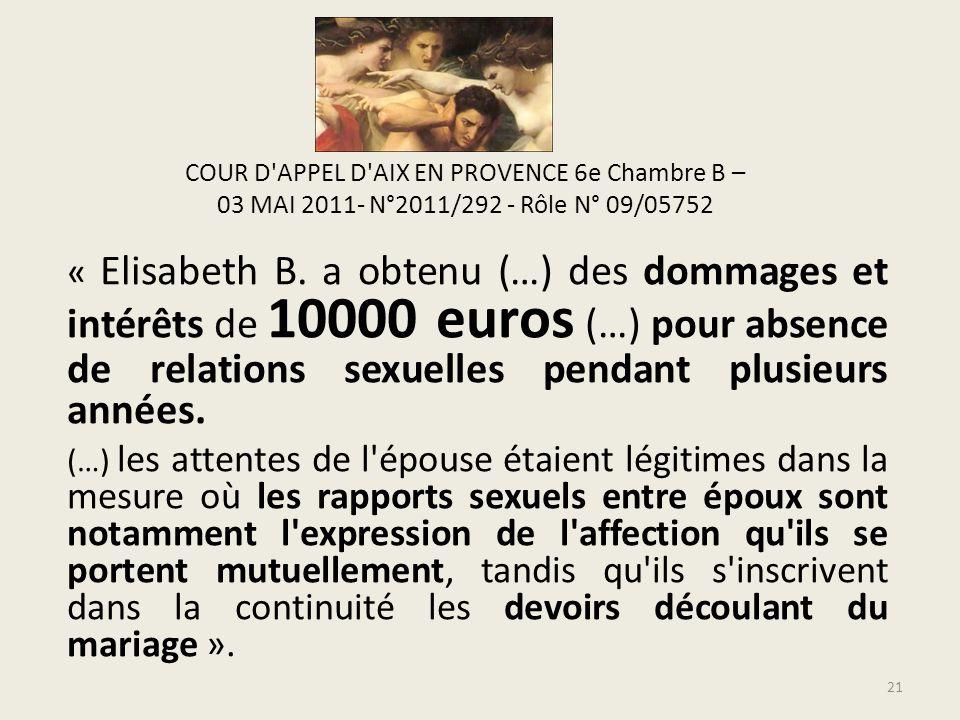 COUR D APPEL D AIX EN PROVENCE 6e Chambre B – 03 MAI 2011- N°2011/292 - Rôle N° 09/05752 « Elisabeth B.