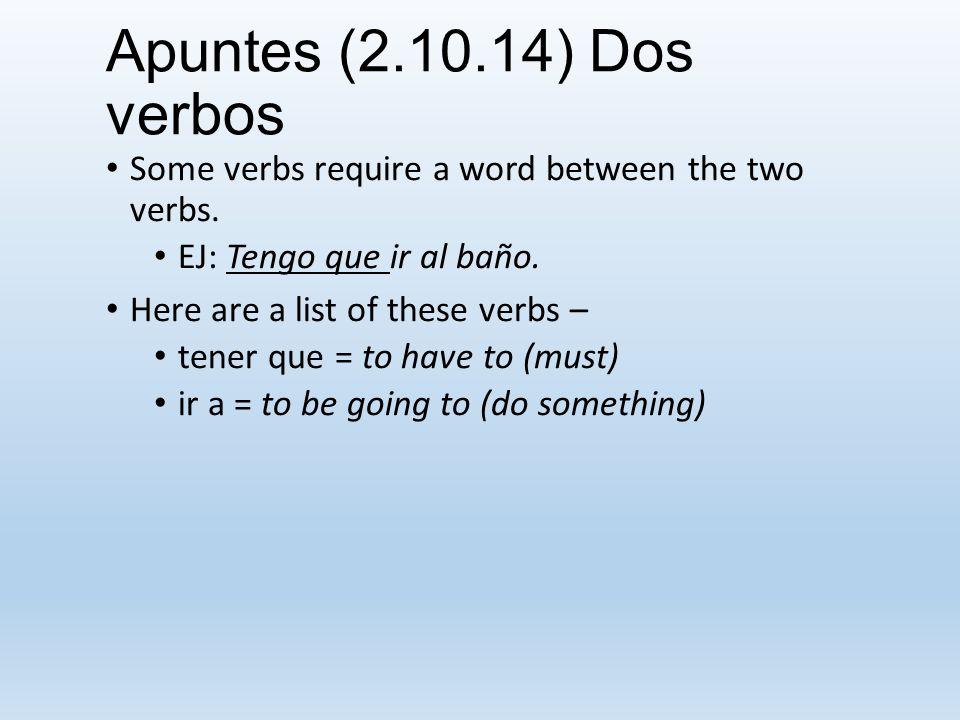 Apuntes (3.10.14) INDIRECT OBJECT PRONOUNS They refer to whom or for whom something is done.