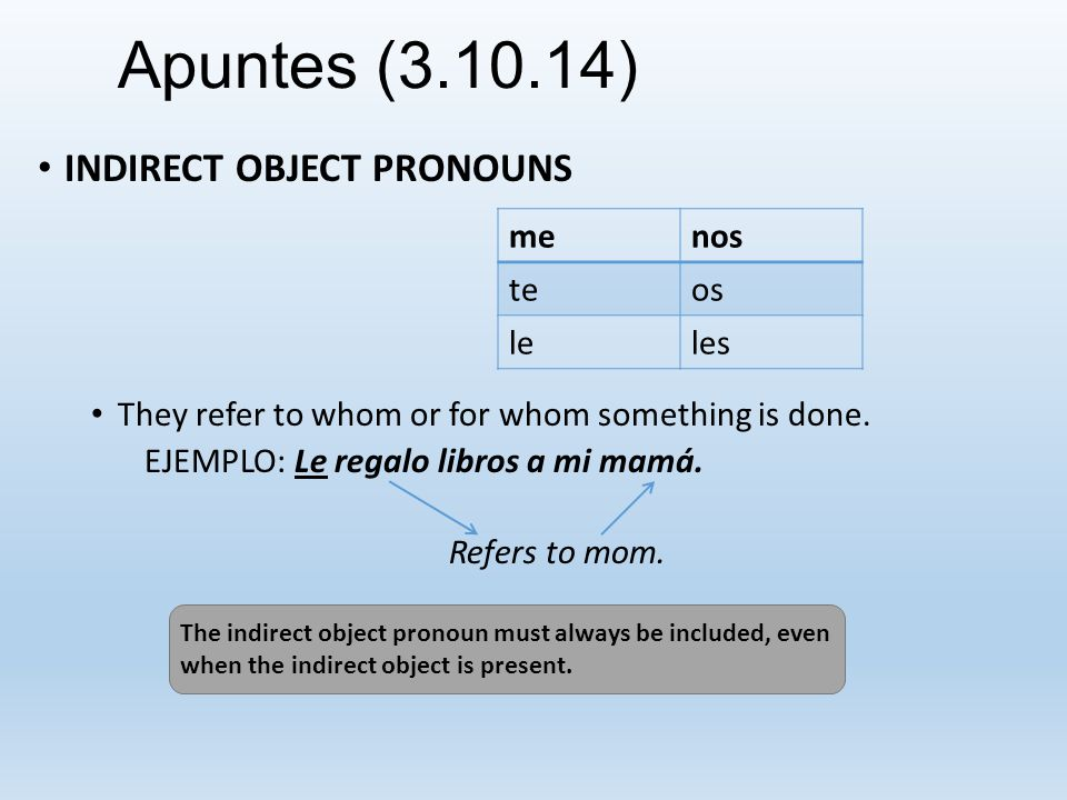 Apuntes (3.10.14) INDIRECT OBJECT PRONOUNS With some verbs (gustar, interestar and encantar) their use is mandatory.