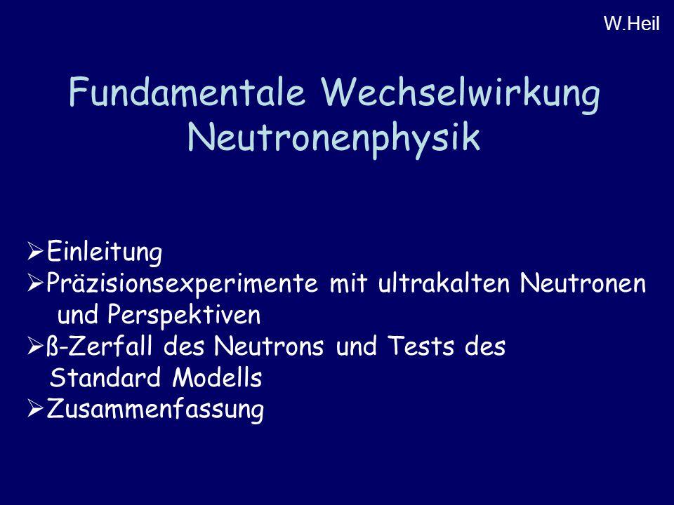 Fundamentale Wechselwirkung Neutronenphysik W.Heil  Einleitung  Präzisionsexperimente mit ultrakalten Neutronen und Perspektiven  ß-Zerfall des Neutrons und Tests des Standard Modells  Zusammenfassung