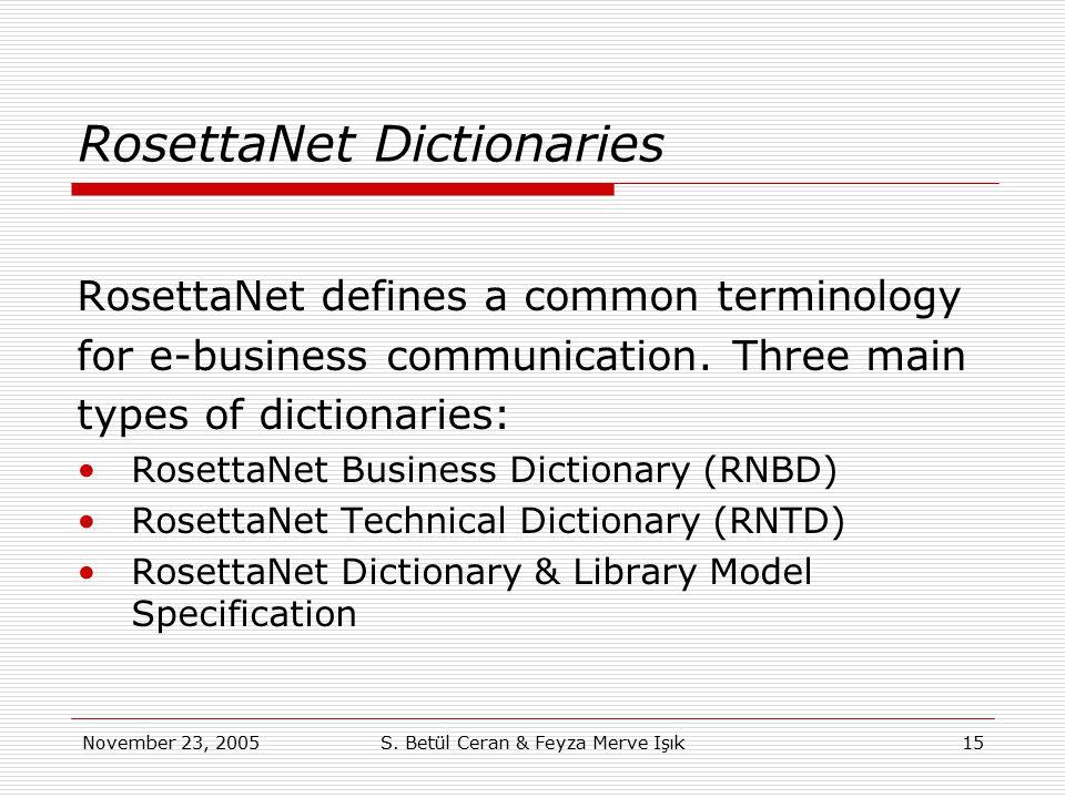 November 23, 2005S. Betül Ceran & Feyza Merve Işık15 RosettaNet Dictionaries RosettaNet defines a common terminology for e-business communication. Thr