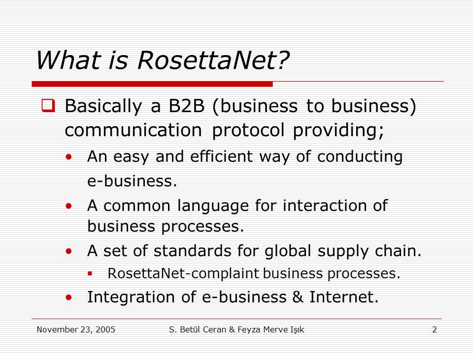 November 23, 2005S. Betül Ceran & Feyza Merve Işık2 What is RosettaNet?  Basically a B2B (business to business) communication protocol providing; An