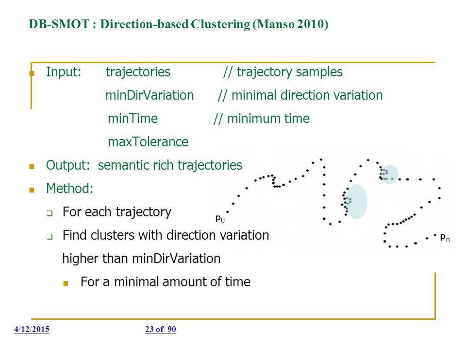 DB-SMOT : Direction-based Clustering (Manso 2010) Input: trajectories // trajectory samples minDirVariation // minimal direction variation minTime //