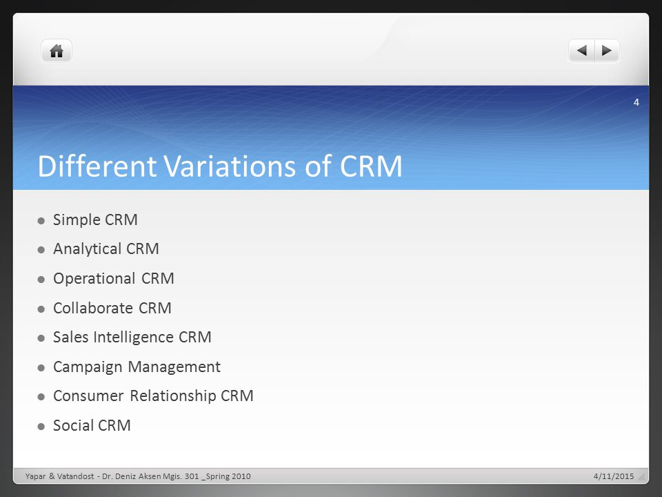 Different Variations of CRM Simple CRM Analytical CRM Operational CRM Collaborate CRM Sales Intelligence CRM Campaign Management Consumer Relationship