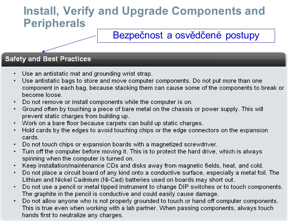 ITE PC v4.0 Chapter 1 21 © 2007 Cisco Systems, Inc. All rights reserved.Cisco Public Install, Verify and Upgrade Components and Peripherals Bezpečnost