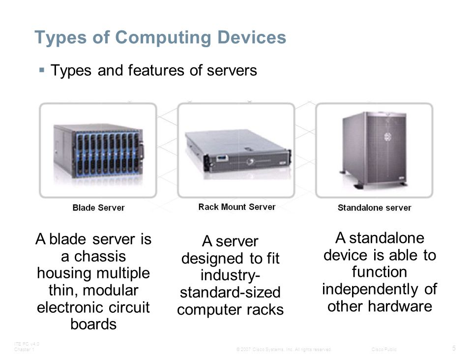 ITE PC v4.0 Chapter 1 5 © 2007 Cisco Systems, Inc. All rights reserved.Cisco Public Types of Computing Devices  Types and features of servers A blade