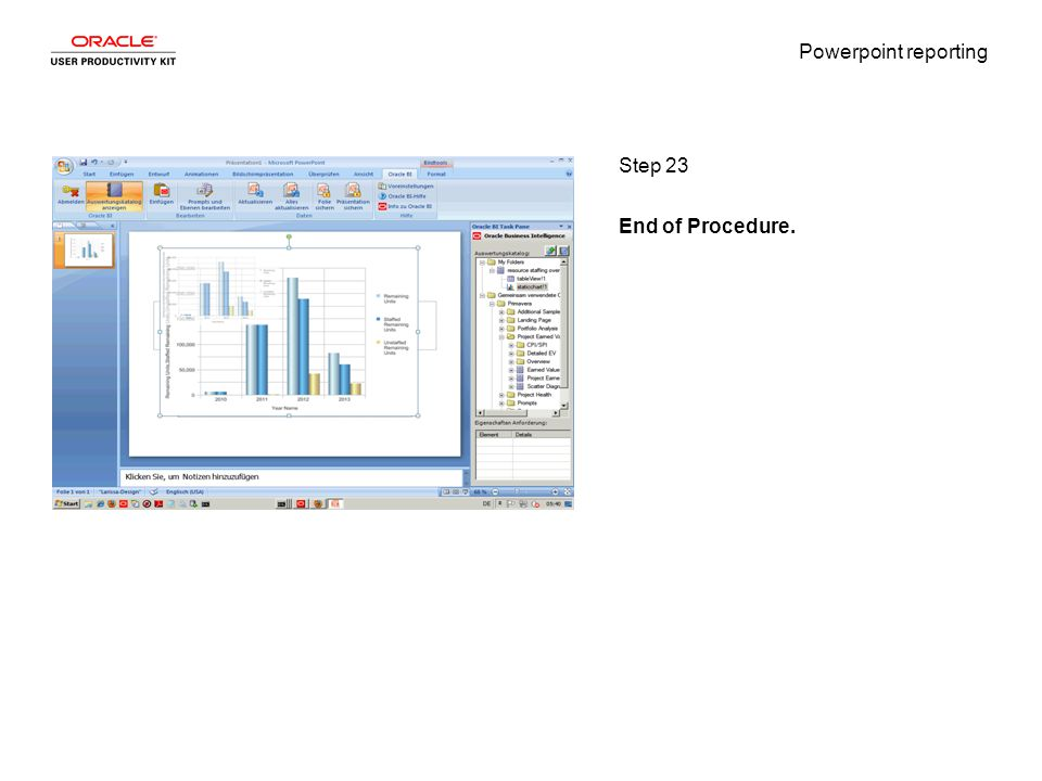 Powerpoint reporting Step 23 End of Procedure.