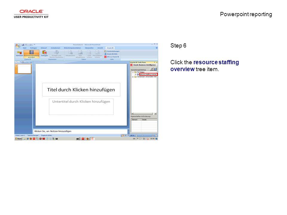 Powerpoint reporting Step 7 Click the Gemeinsam verwendete Ordner tree item.