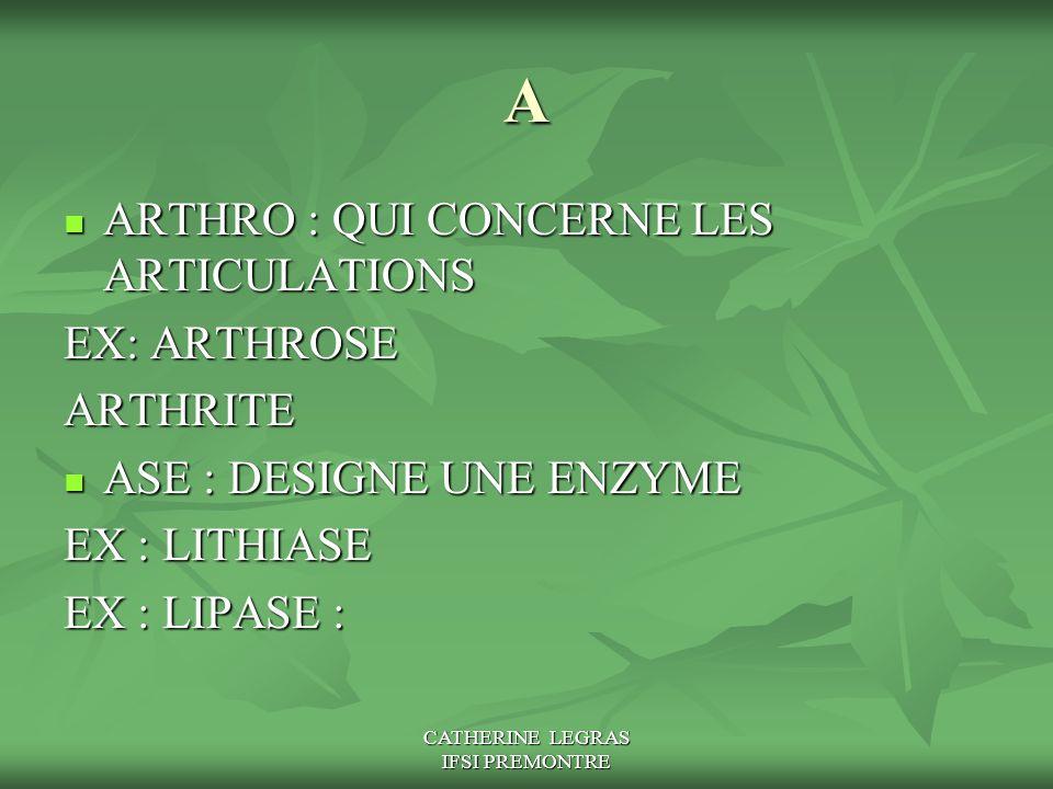 CATHERINE LEGRAS IFSI PREMONTRE A ARTHRO : QUI CONCERNE LES ARTICULATIONS ARTHRO : QUI CONCERNE LES ARTICULATIONS EX: ARTHROSE ARTHRITE ASE : DESIGNE