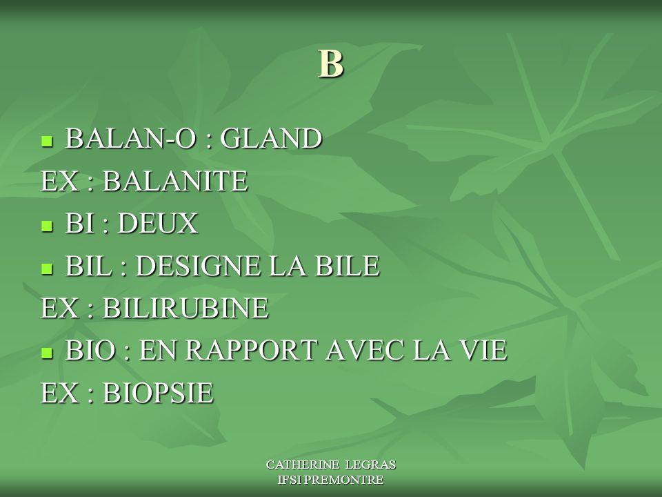 CATHERINE LEGRAS IFSI PREMONTRE B BALAN-O : GLAND BALAN-O : GLAND EX : BALANITE BI : DEUX BI : DEUX BIL : DESIGNE LA BILE BIL : DESIGNE LA BILE EX : B