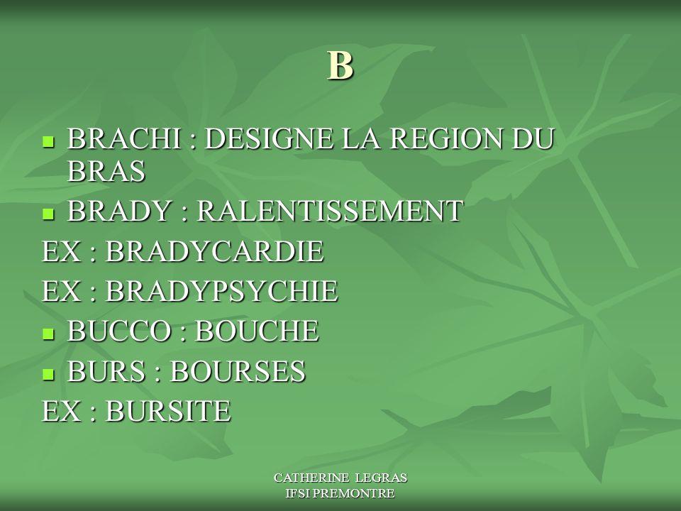 CATHERINE LEGRAS IFSI PREMONTRE B BRACHI : DESIGNE LA REGION DU BRAS BRACHI : DESIGNE LA REGION DU BRAS BRADY : RALENTISSEMENT BRADY : RALENTISSEMENT