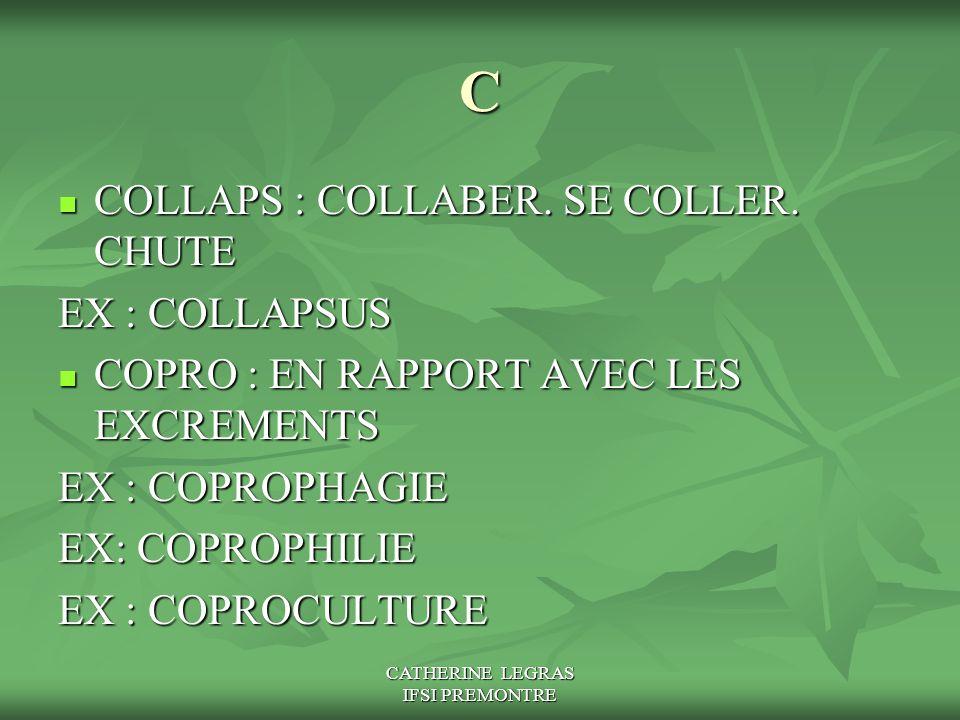 CATHERINE LEGRAS IFSI PREMONTRE C COLLAPS : COLLABER. SE COLLER. CHUTE COLLAPS : COLLABER. SE COLLER. CHUTE EX : COLLAPSUS COPRO : EN RAPPORT AVEC LES