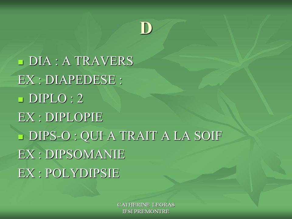 CATHERINE LEGRAS IFSI PREMONTRE D DIA : A TRAVERS DIA : A TRAVERS EX : DIAPEDESE : DIPLO : 2 DIPLO : 2 EX : DIPLOPIE DIPS-O : QUI A TRAIT A LA SOIF DI