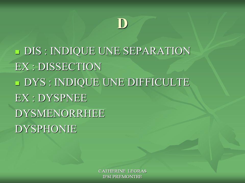 CATHERINE LEGRAS IFSI PREMONTRE D DIS : INDIQUE UNE SEPARATION DIS : INDIQUE UNE SEPARATION EX : DISSECTION DYS : INDIQUE UNE DIFFICULTE DYS : INDIQUE