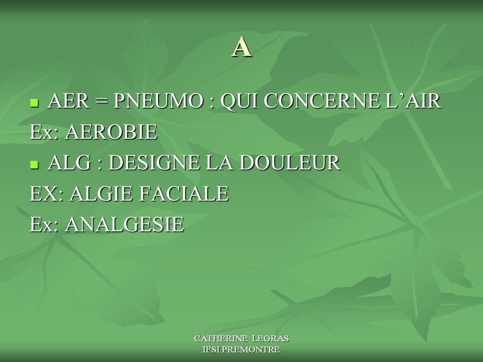 CATHERINE LEGRAS IFSI PREMONTRE A AER = PNEUMO : QUI CONCERNE L'AIR AER = PNEUMO : QUI CONCERNE L'AIR Ex: AEROBIE ALG : DESIGNE LA DOULEUR ALG : DESIG