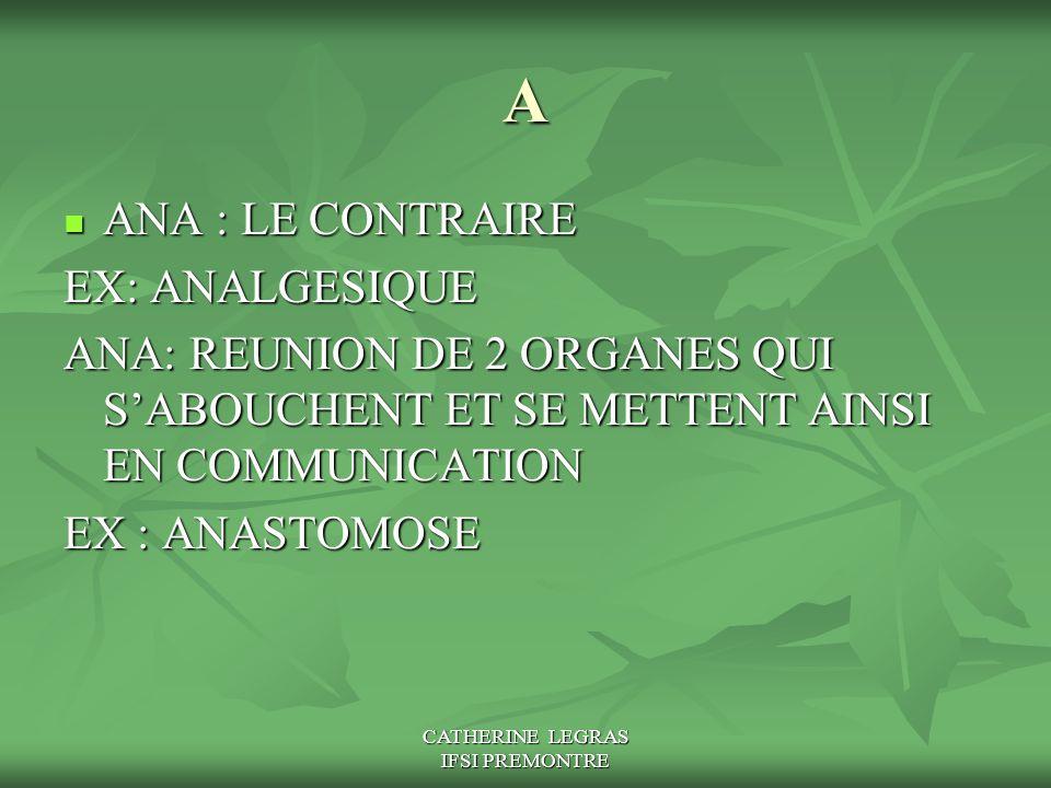 CATHERINE LEGRAS IFSI PREMONTRE A ANA : LE CONTRAIRE ANA : LE CONTRAIRE EX: ANALGESIQUE ANA: REUNION DE 2 ORGANES QUI S'ABOUCHENT ET SE METTENT AINSI
