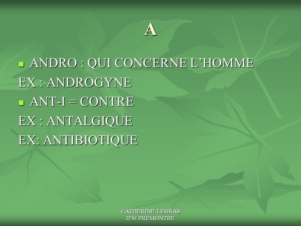 CATHERINE LEGRAS IFSI PREMONTRE A ANDRO : QUI CONCERNE L'HOMME ANDRO : QUI CONCERNE L'HOMME EX : ANDROGYNE ANT-I = CONTRE ANT-I = CONTRE EX : ANTALGIQ