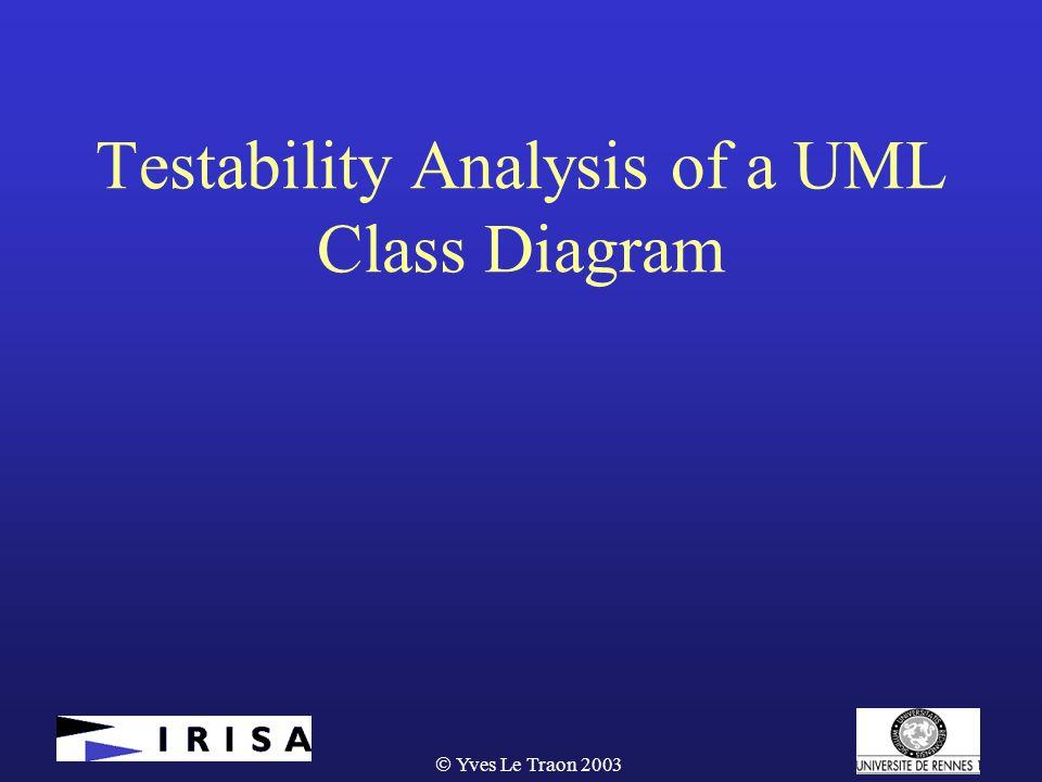  Yves Le Traon 2003 Testability Analysis of a UML Class Diagram