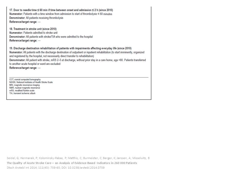 Seidel, G; Hermanek, P; Kolominsky-Rabas, P; Matthis, C; Burmeister, C; Berger, K; Janssen, A; Misselwitz, B The Quality of Acute Stroke Care— an Analysis of Evidence-Based Indicators in 260 000 Patients Dtsch Arztebl Int 2014; 111(45): 759-65; DOI: 10.3238/arztebl.2014.0759