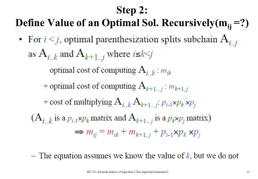 Step 2: Define Value of an Optimal Sol.