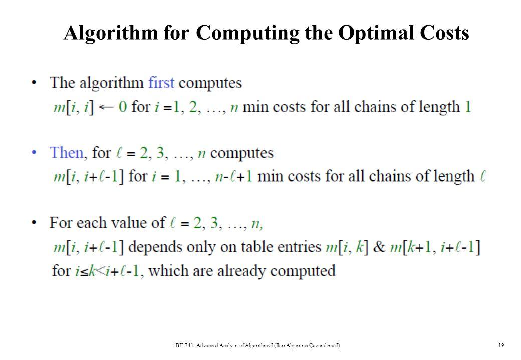 Algorithm for Computing the Optimal Costs BIL741: Advanced Analysis of Algorithms I (İleri Algoritma Çözümleme I)19