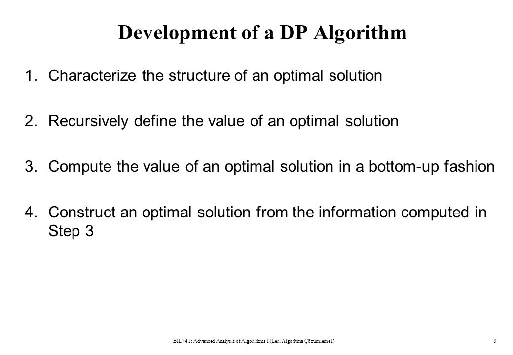 Development of a DP Algorithm 1. Characterize the structure of an optimal solution 2.