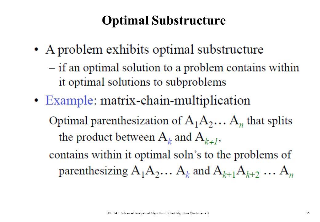 Optimal Substructure BIL741: Advanced Analysis of Algorithms I (İleri Algoritma Çözümleme I)35