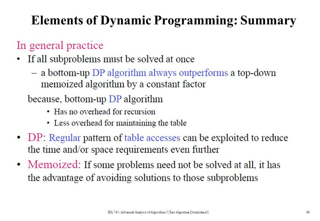 Elements of Dynamic Programming: Summary BIL741: Advanced Analysis of Algorithms I (İleri Algoritma Çözümleme I)48