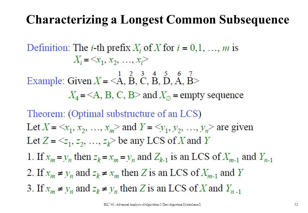 Characterizing a Longest Common Subsequence BIL741: Advanced Analysis of Algorithms I (İleri Algoritma Çözümleme I)52