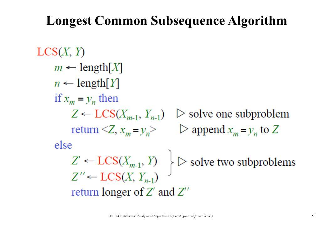 Longest Common Subsequence Algorithm BIL741: Advanced Analysis of Algorithms I (İleri Algoritma Çözümleme I)53