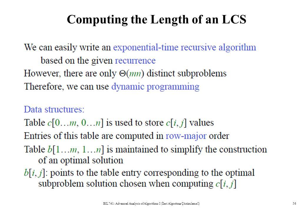 Computing the Length of an LCS BIL741: Advanced Analysis of Algorithms I (İleri Algoritma Çözümleme I)56