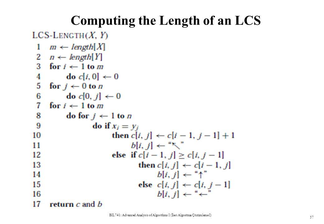 Computing the Length of an LCS BIL741: Advanced Analysis of Algorithms I (İleri Algoritma Çözümleme I) 57