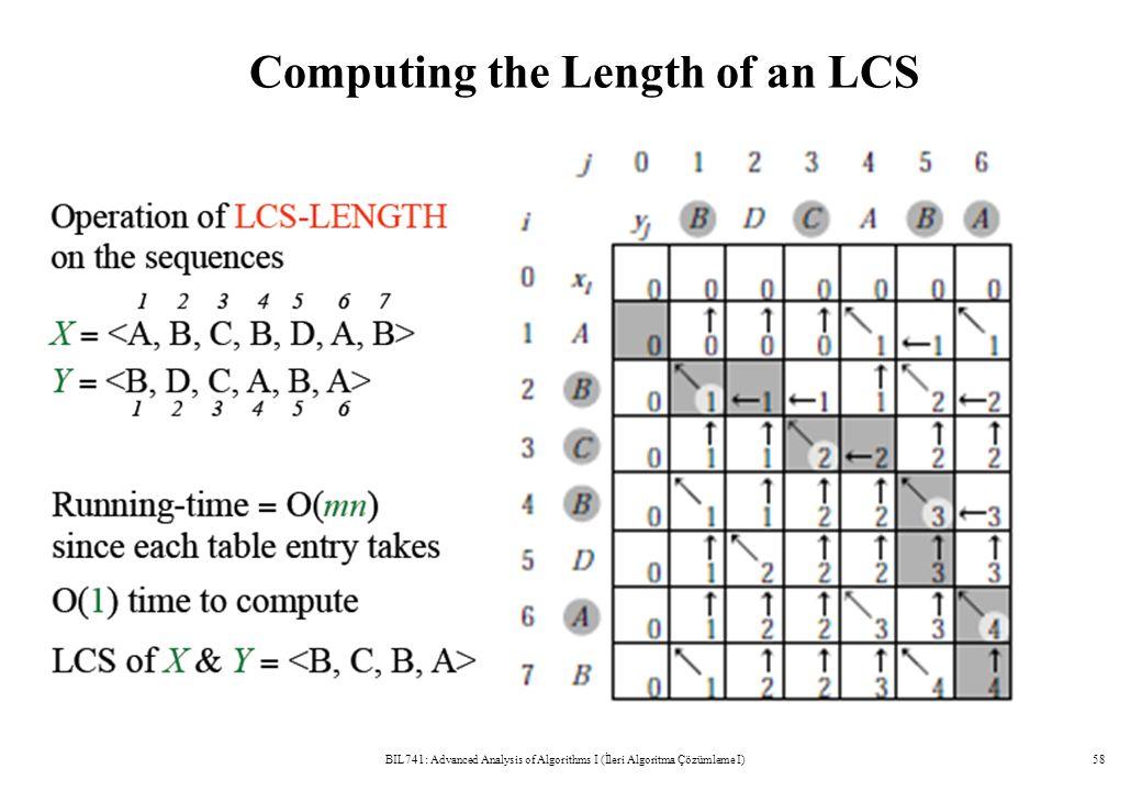 Computing the Length of an LCS BIL741: Advanced Analysis of Algorithms I (İleri Algoritma Çözümleme I)58