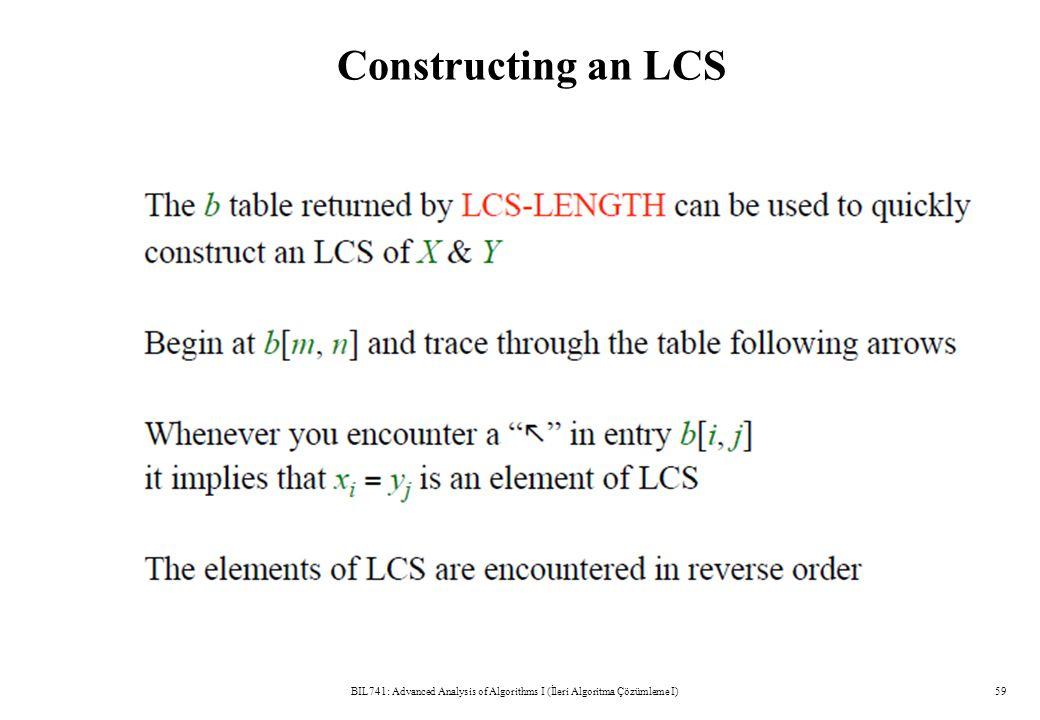 Constructing an LCS BIL741: Advanced Analysis of Algorithms I (İleri Algoritma Çözümleme I)59