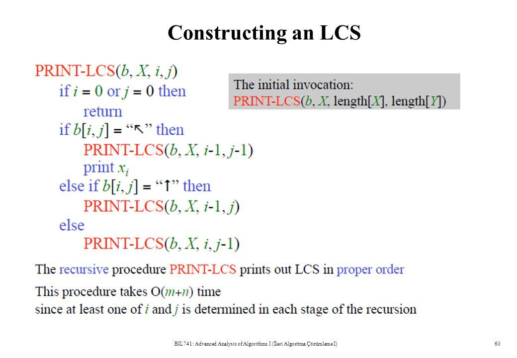 Constructing an LCS BIL741: Advanced Analysis of Algorithms I (İleri Algoritma Çözümleme I)60