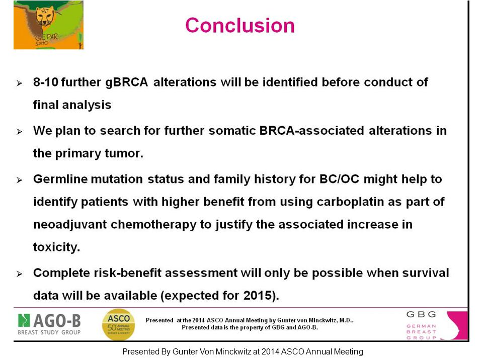 Conclusion Presented By Gunter Von Minckwitz at 2014 ASCO Annual Meeting