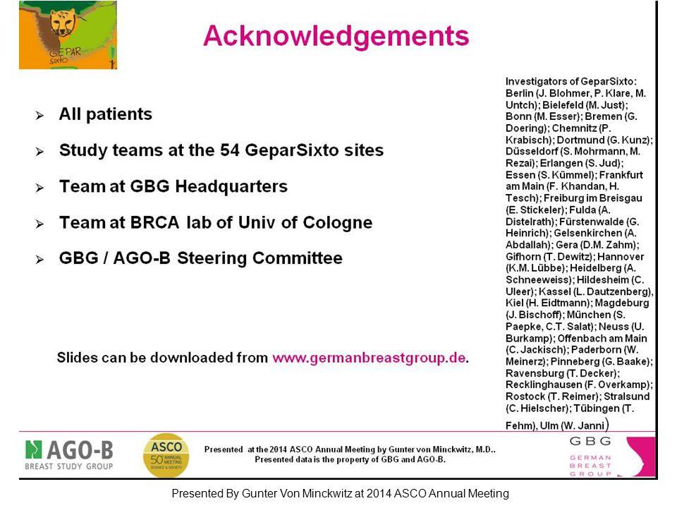 Acknowledgements Presented By Gunter Von Minckwitz at 2014 ASCO Annual Meeting