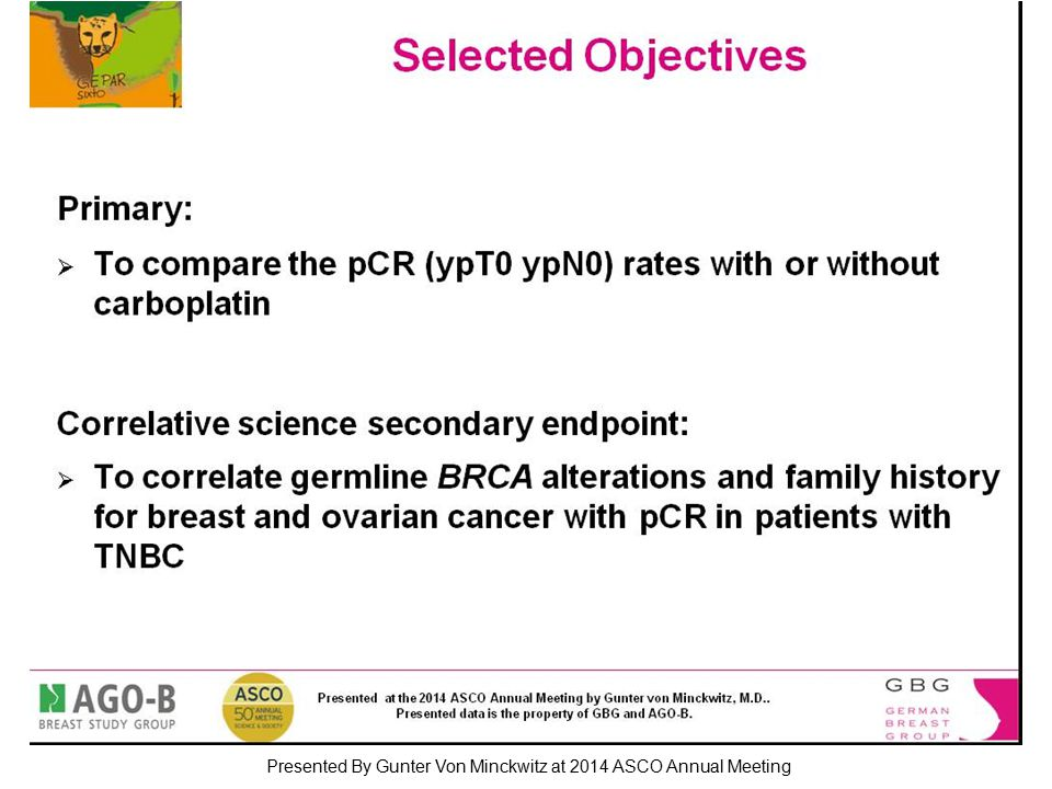 Selected Objectives Presented By Gunter Von Minckwitz at 2014 ASCO Annual Meeting