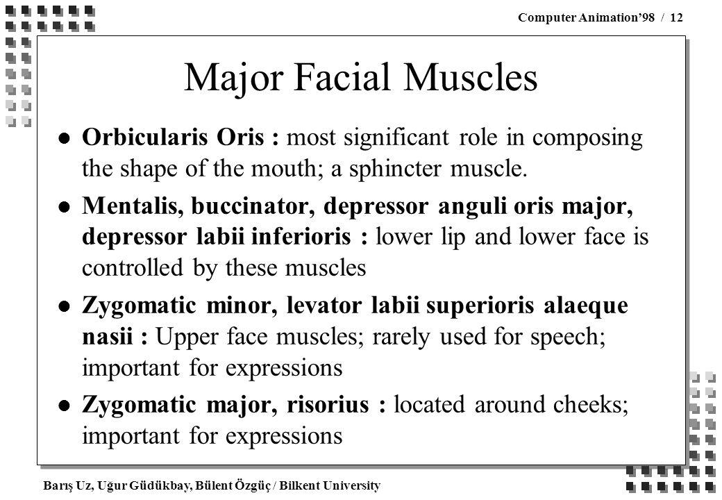 Barış Uz, Uğur Güdükbay, Bülent Özgüç / Bilkent University Computer Animation'98 / 12 Major Facial Muscles l Orbicularis Oris : most significant role in composing the shape of the mouth; a sphincter muscle.