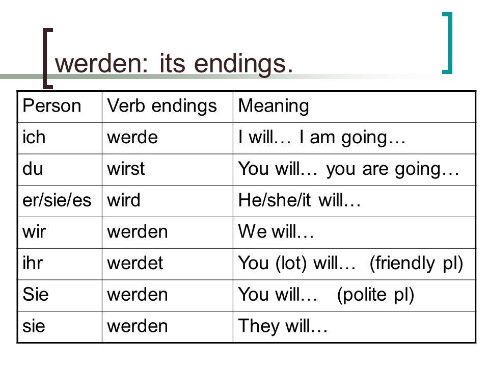 werden: its endings.