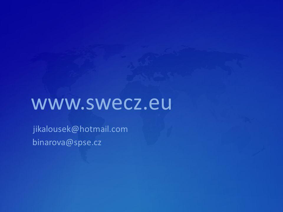 www.swecz.eu jikalousek@hotmail.com binarova@spse.cz