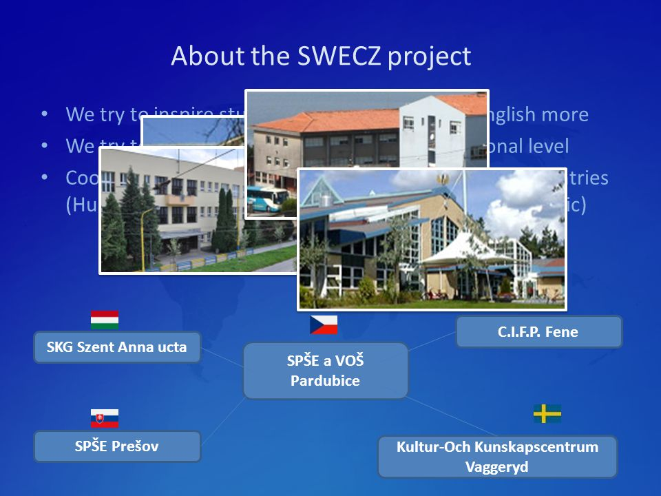 About the SWECZ project We try to inspire students to communicate in English more We try to do common activities at the international level Cooperation among five schools from five different countries (Hungary, Slovakia, Spain, Sweden and the Czech Republic) SPŠE a VOŠ Pardubice SKG Szent Anna ucta SPŠE Prešov C.I.F.P.